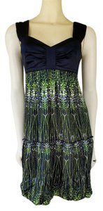 Gianni Bini short dress Blue Navy Green Silk Bubble Hem on Tradesy