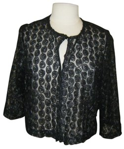 NWT RM RICHARDS BLACK SHEER OPEN FRONT JACKET  SIZE L SIZE XL