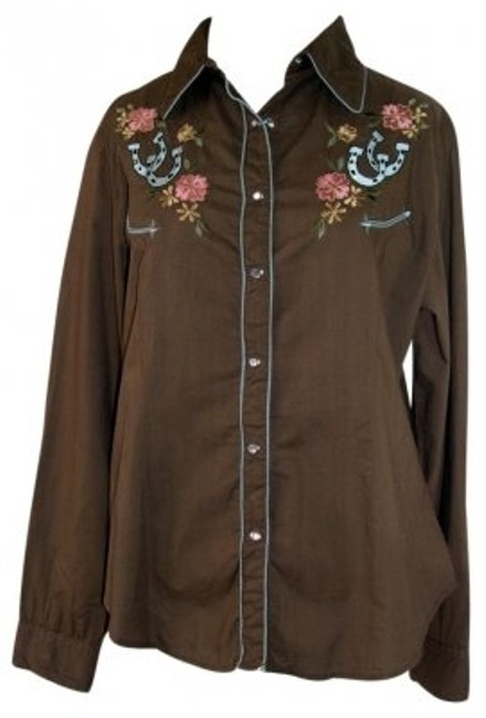 Preload https://img-static.tradesy.com/item/14044/martini-ranch-chocolate-with-blue-piping-fitted-western-yoke-shirt-button-down-top-size-14-l-0-0-650-650.jpg