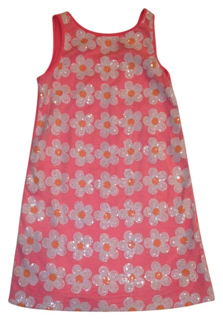 Flowers by Zoe short dress Pink/White 85% Rayon 15% Spandex on Tradesy