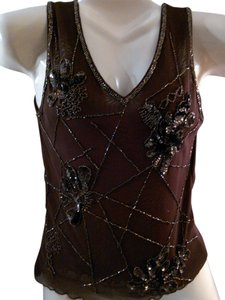Pretty Angel Embellished Top Chocolate Brown