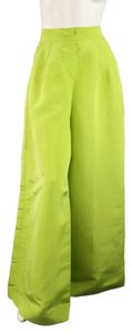 Oscar de la Renta Evening High Rise Pleated Wide Leg Pants Green