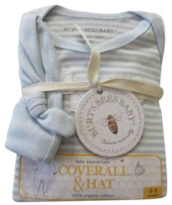 """Burt's Bees Burt's Bees Baby """"bee essentials"""" 2 Piece Set Sky Blue & White Stripe Footed Coveralls & Sky Blue Knotted Hat Ribbed 100% Organic Cotton NEW!"""
