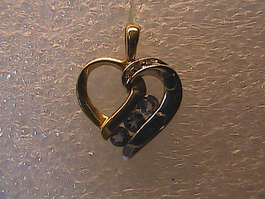Vintage 10k Solid Yellow & White Gold Heart Diamond and Tanzanite Pendant
