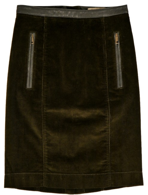 Burberry Brit Skirt Lotus Green and Brown Leather