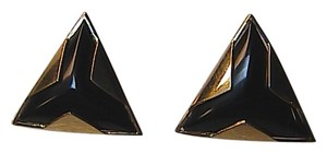 Vintage 14k Solid Yellow Gold Natural Black onyx Trillion cut Stud Pierced Earrings