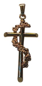 Unique Vintage 10k Solid Yellow & Rose Gold Crucifix Pendant