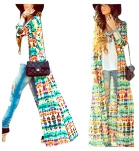 Wish Tye Dye Tie Dye Button Up Longsleeve Kimono Chiffon Sheer Colorful Top multicolored
