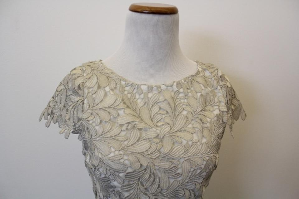 Alice + Olivia Cream/Silver Floral Lace Above Knee Cocktail Dress ...