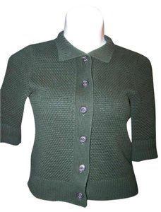 Chaps Size Medium Green Button Down 3/4 Sleeves Sweater Cardigan