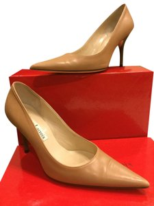 Christian Lacroix Designer Nude Calf Leather Tan Heels Camel nude Pumps