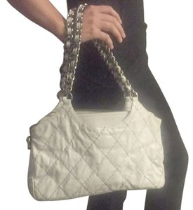 Chanel Vintage Leather Silver Chain Quilted Diamond Stitch Hobo Bag