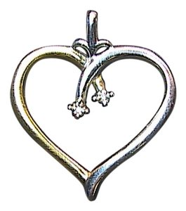 Vintage Sterling Silver .02 cts Diamond Heart Pendant