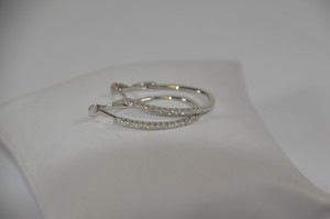 0.21ct. Genuine Natural Diamonds 14k Solid White Gold Hoop Earring On Sale