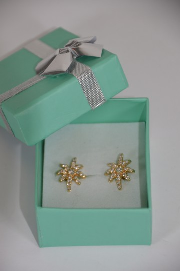 Yellow Gold 0.50ct. Genuine Diamonds Prong Set Star 14k Solid Earrings