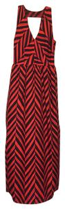 MILLY Maxi V-neck Silk Chevron Dress