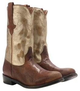Ash Leather Cowboy Biker Camel Boots