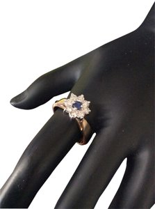 Other 14k Diamond And Sapphire Flower Right Hand Ring