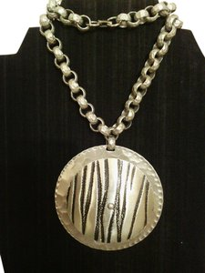 Zebra Engraved Hammered Pendant Necklace Zebra Engraved Hammered Pendant Necklace