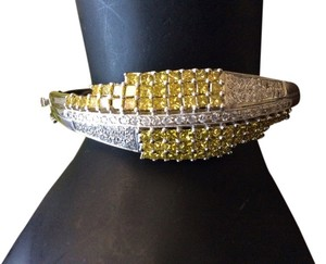 Other 14k Canary Princess Cut Diamonds And White Pave Diamond Bangle