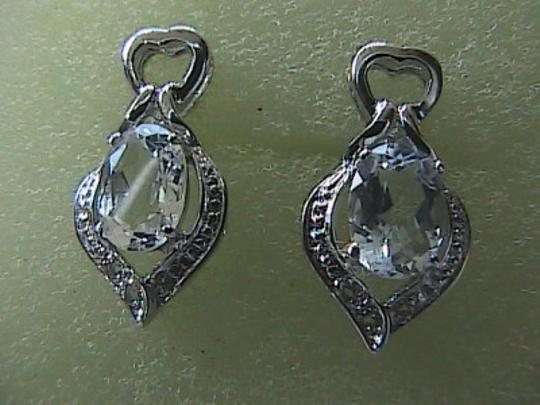 Unknown 925 Sterling Silver 1.6 Carats White Topaz Stud Earrings (#2)