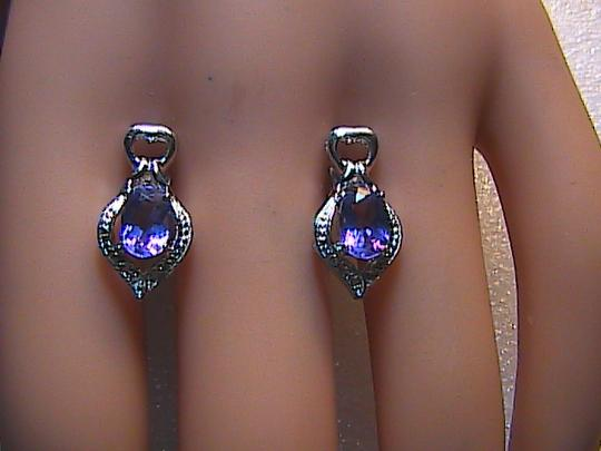 Unknown Sterling Silver 1.6 Cts Amethyst and White Topaz Stud Earrings