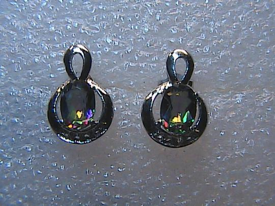 Unknown 925 Sterling Silver 1.6 cts Mystic Topaz and White Topaz Stud Earrings