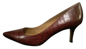 Ann Taylor Heel Leather Brown Pumps
