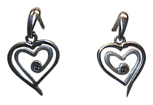 Vintage Sterling Silver 925 .005 carats Dangle Heart CZ Dangling Earrings