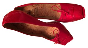 Stuart Weirzman Leather Peep Toe New Cork Tie Patent Patent Leather Red Pumps