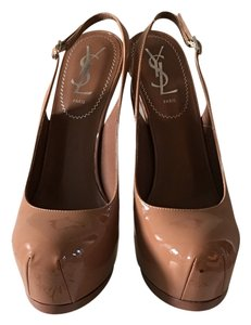 Saint Laurent Brand New Slingback Nude Pumps