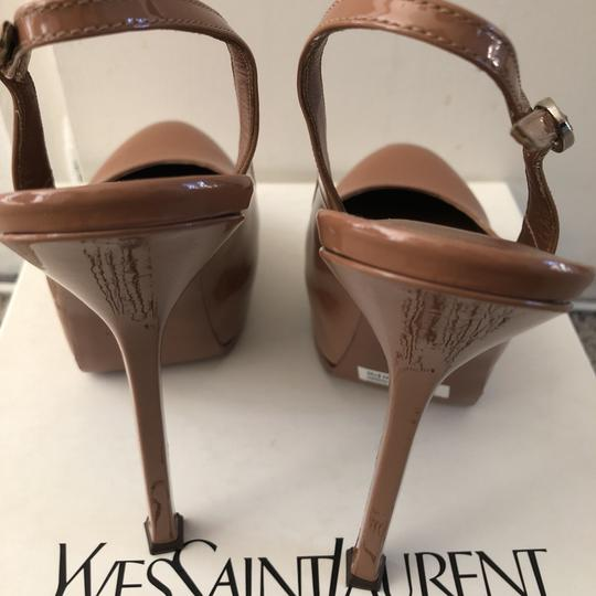 Saint Laurent Slingback Hidden Platform Patent Leather Small Mark On Toe Nude Pumps Image 6