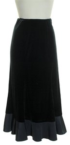Paniz Velvet Flared Hem Skirt Black