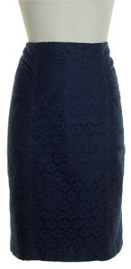 Nanette Lepore Lace Ruched Front Pencil Skirt Navy Blue