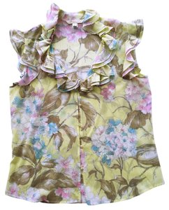 St. John Couture Top yellow floral