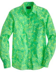 J.Crew Leaf Print Long Sleeve Woven Button Down Shirt Neon Green