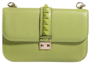 5afa9ae7c6 Valentino Rockstud Medium Glam Lock Flap Green Leather Shoulder Bag ...
