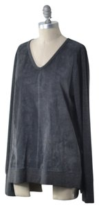 ecru Genuine Suede V-neck Longsleeve Oversized Top Charcoal Gray