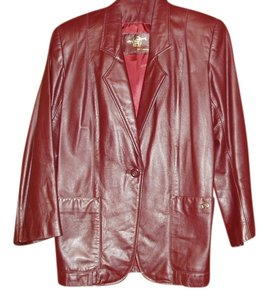 Etienne Aigner Mint Leather Burgundy Blazer