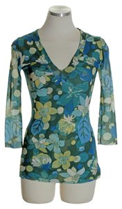 Sweet Pea by Stacy Frati Floral V-neck 3/4 Sleeve Top Green Multi