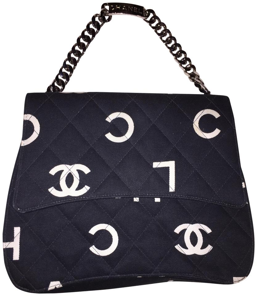 571619973af8 Chanel Classic Flap Rare Vintage and Letter Nameplate Black & White ...