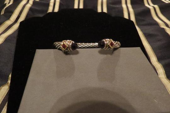 David Yurman Renaissance Collection SS/14k Amethyst/Pink Tourmaline 7mm Cuff Image 1