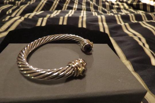 David Yurman Renaissance Collection SS/14k Amethyst/Pink Tourmaline 7mm Cuff Image 2