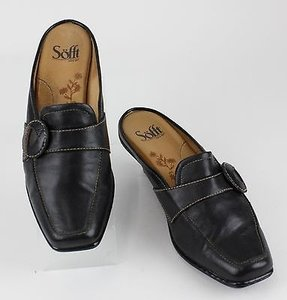 Erosoft by Sfft Sofft Black Top Stitched Mid Mules