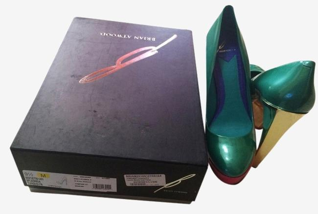 Brian Atwood Green Pink Gold New Leonida Pumps Size US 8.5 Brian Atwood Green Pink Gold New Leonida Pumps Size US 8.5 Image 1