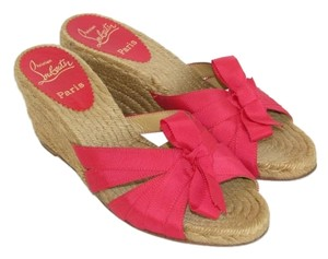 Christian Louboutin Espadrille Wedge Heels Red Wedges