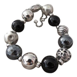 David Yurman David Yurman Elements Black Onyx, Hematine and Sterling Silver Multi Bead Adjustable Length Bracelet