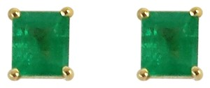 18k Gold Emerald Stud Earrings