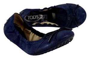 Tod's Navy Blue Shimmer Bow Flats