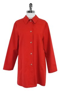 Burberry Red Cotton Blend Button Up Jacket